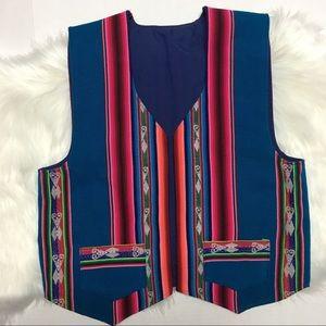Mexican Serape Poncho Blanket Western Vest